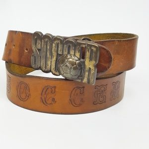 SOCCER Vintage Tooled Leather Belt